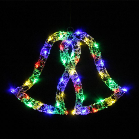 Crystal Bell Multi Coloured Indoor & Outdoor Static Wall Window Decorations LED Lights